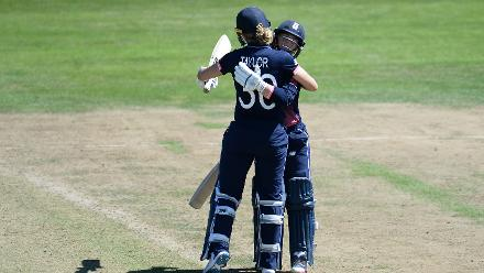 Tammy Beaumont of England celebrates her half century.
