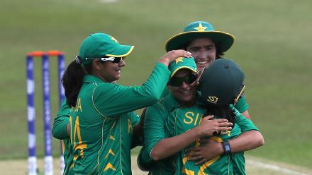 Pakistan players celebrate the wicket of Rahael Haynes