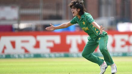 Diana Baig of Pakistan appeals during the ICC Women's World Cup 2017 match between Pakistan and Australia