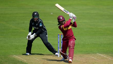 Merissa Aguilleira bats during the ICC Women's World Cup 2017 match between New Zealand.
