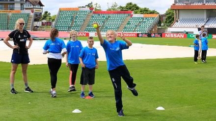Local school children attend a training session with the New Zealand Women's Team at The County Ground