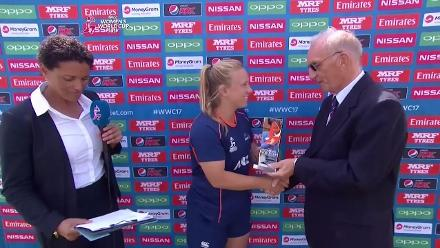 #WWC17 NZ v WI - Player of the Match - Leigh Kasperek