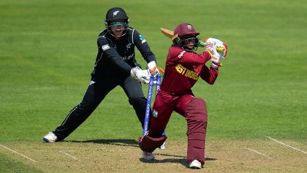 Afy Fletcher survives a stumping chance from Rachel Priest