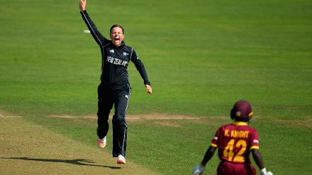 Lea Tahuhu of New Zealand celebrates the wicket of Kycia Knight of West Indies.