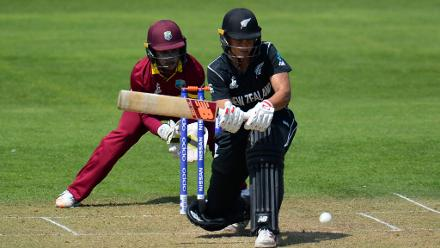Suzie Bates bats during the ICC Women's World Cup 2017 match between New Zealand and the West Indies.