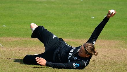 Lea Tahuhu of New Zealand celebrates the wicket of Haley Matthews of West Indies during the ICC Women's World Cup 2017 match.