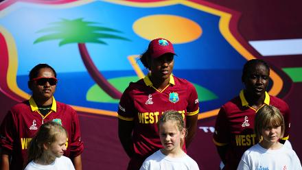 The West Indies side line up for the national anthem.