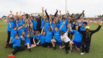 Sune Luus, Chloe Tryon, Raisibe Ntozakhe, Ayabonga Khaka and Dane van Niekerk of South Africa pictured with local school children during an ICC Cricket for Good clinic at Grace Road