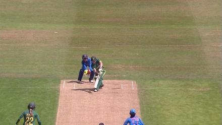 WICKET: Harmanpreet Kaur bags the big wicket of Lizelle Lee