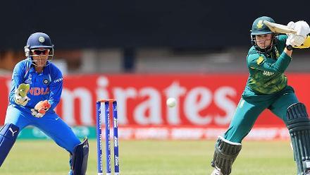 Dane van Niekerk plays a shot during her innings