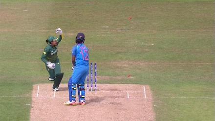 WICKET: Shikha Pandey falls to a stumping by Trisha Chetty