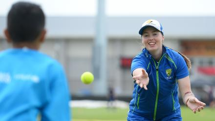 Amanda Wellington of Australia throws a ball during the ICC Cricket for Good - Australia event in Bristol, Englandf