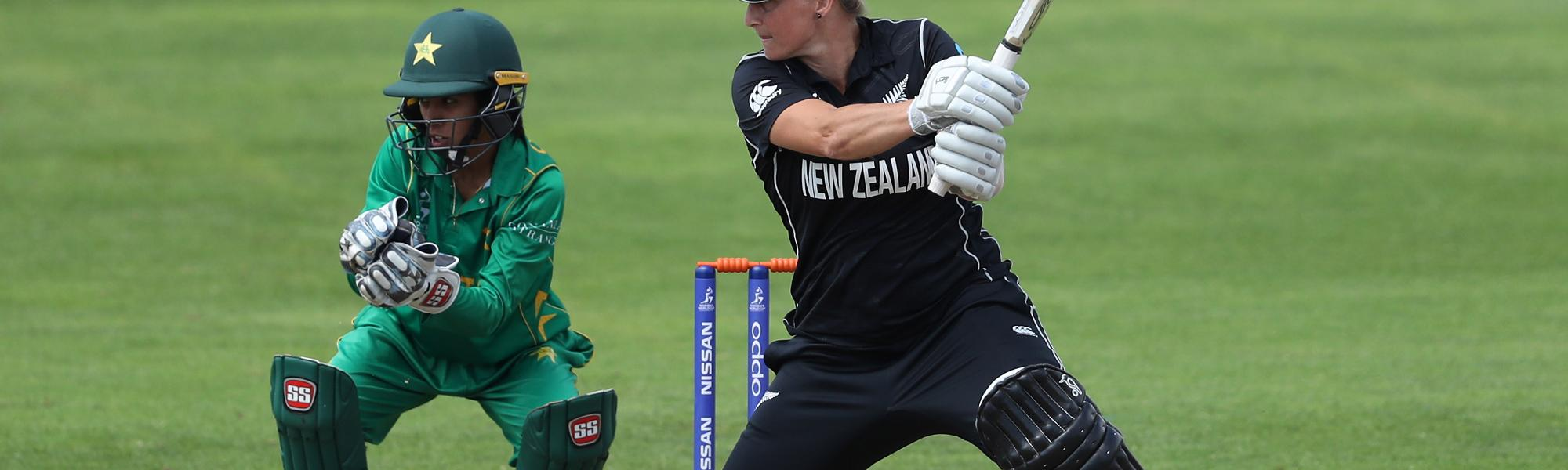 Sophie Devine of New Zealand hits out during the match against Pakistan.