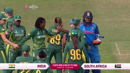 #WWC17 Poonam Yadav's wicket seals an emphatic win for South Africa