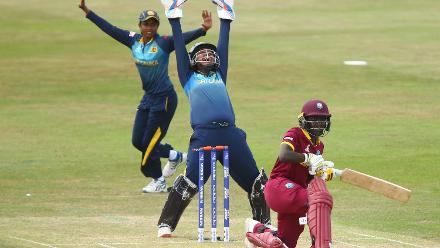 Nipuni Hansika and Prasadani Weerakkodi of Sri Lanka appeal successfully for the wicket of Kycia Knight