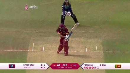 WICKET: Hayley Mathews falls for 26, leg before wicket to Sripali Weerakkody