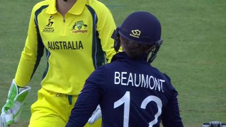 WICKET: Tammy Beaumont falls to Ashleigh Gardner for 49