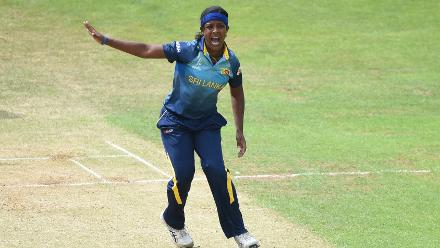Ama Kanchana made the crucial breakthroughs of Chadean Nation and Shanel Daley to keep West Indies in check.