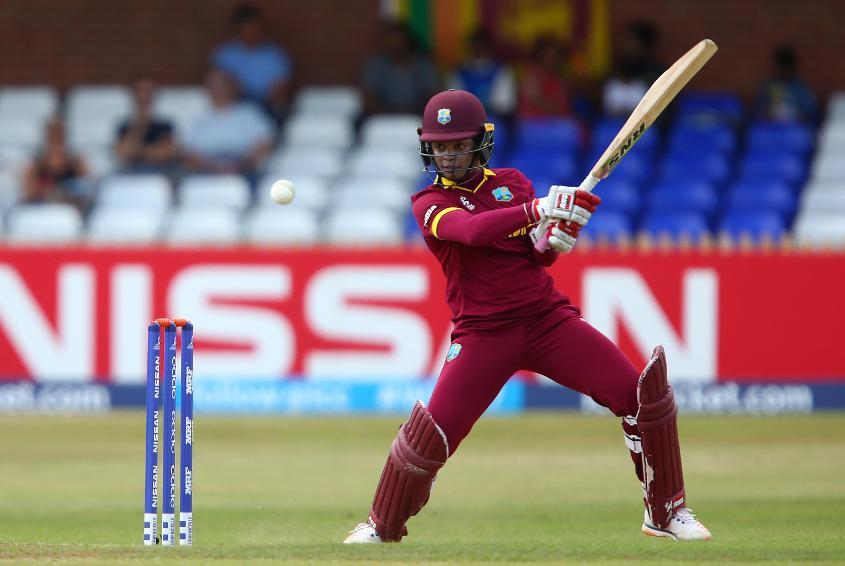 Merissa Aguilleira of West Indies plays a shot during the ICC Womens World Cup match between West Indies and Sri Lanka