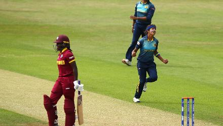 Sripali Weerakkody of Sri Lanka celebrates taking the wicked of Stafanie Taylor of West Indies during the ICC Womens World Cup match between West Indies and Sri Lanka
