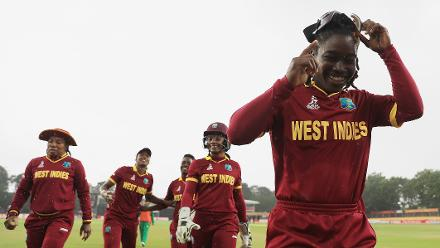 The match was cut short by rains, with West Indies winning by 19 runs on basis of DLS method.