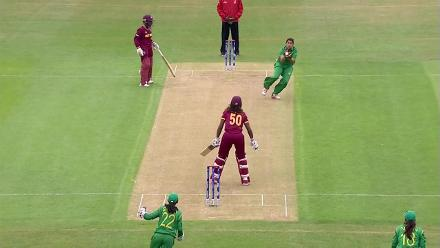 WICKET: Hayley Mathews falls to Asmavia Iqbal for 1