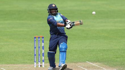 Eshani Lokusooriya of Sri Lanka hits out during The ICC Women's World Cup 2017 match.