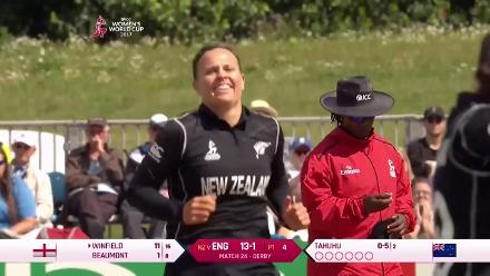 WICKET: Laura Winfield falls to Lea Tahuhu for 11