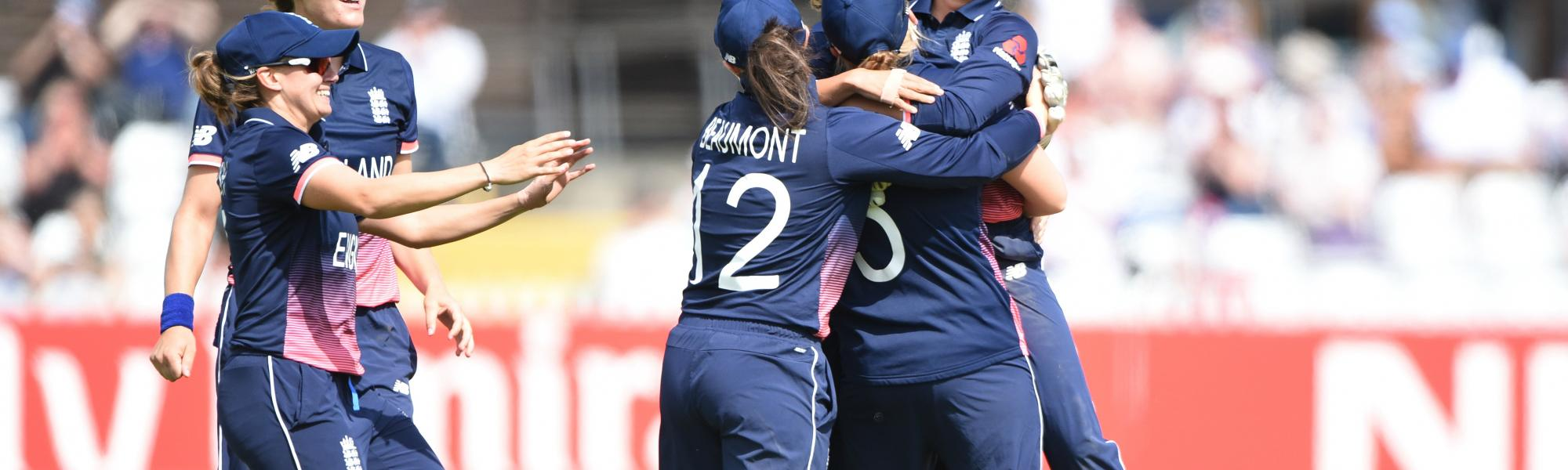 England women celebrating.
