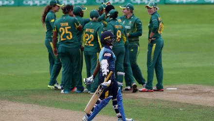 South African players celebrate the wicket of Hasini Perera of Sri Lanka during The ICC Women's World Cup 2017 match.