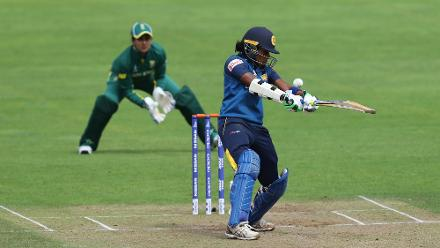 Chamari Polgampala of Sri Lanka attempts a shot.
