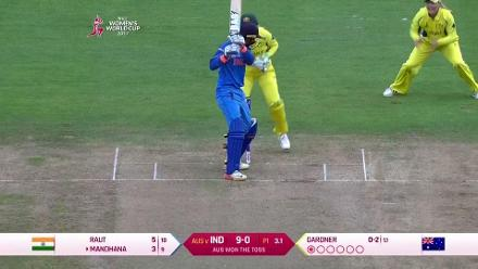 WICKET: Smriti Mandhana falls to Ashleigh Gardner for 3