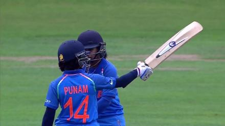 HUNDRED: Punam Raut reaches her century off 129 deliveries