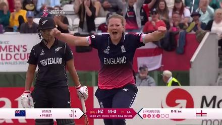 WICKET: Rachel Priest falls to Anya Shrubsole for 12