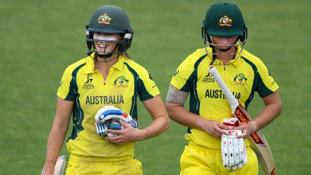 Meg Lanning and Ellyse Perry were unbeaten in the end, as Australia romped home by eight wickets in 45.1 overs booking a place in the sem-finals in the process