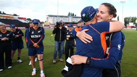 Amy Satterthwaite is congratulated on occassion of her 100th ODI.