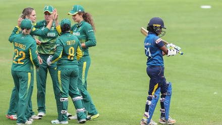 South African players celebrate the wicket of Chamari Polgampala of Sri Lanka during The ICC Women's World Cup 2017 match.