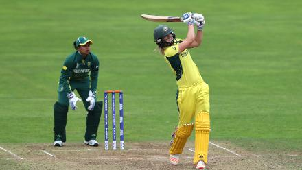 Ellyse Perry scored a brisk 55 to stabilise Australia in the middle.