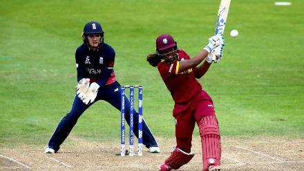 Hayley Matthews of West Indies bats.