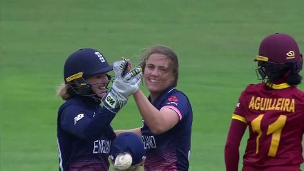WICKETS: Natalie Sciver wreaks havoc in her first over