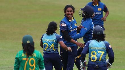 Chandima Gunaratne celebrates the wicket of Ayesha Zafar