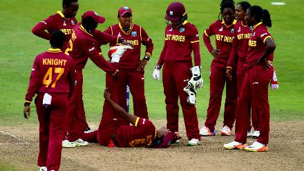 Hayley Matthews of West Indies recieves treatment after falling with an injury.