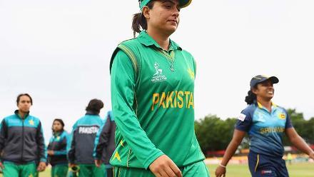 Sana Mir walks off the field after Pakistan's loss to Sri Lanka