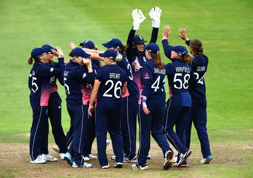 Sarah Taylor of England celebrates with her teammates after running out Kycia Knight.
