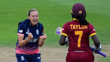 Laura Marsh of England celebrates after dismissing Stafanie Taylor of West Indies.