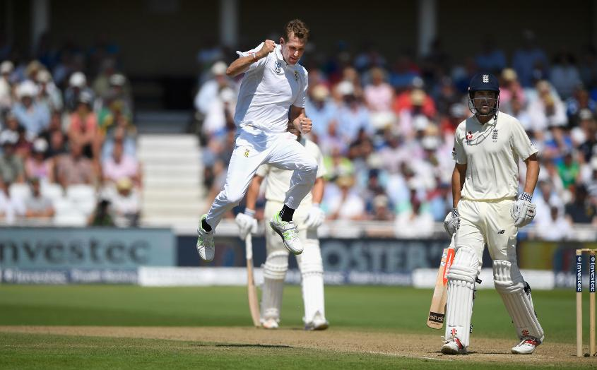 Alistair Cook showed some grit in his knock of 42 but was removed by a Chris Morris bouncer.