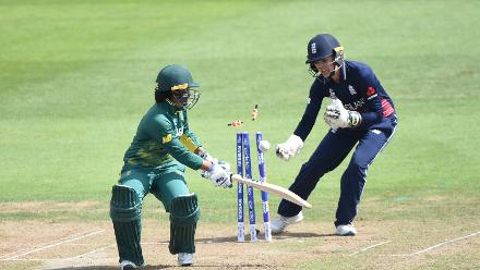 Sarah Taylor affected a spectacular stumping down leg off Natalie Sciver to get rid of Trisha Chetty, as South Africa slid to 48 for 2 in the twelfth over.