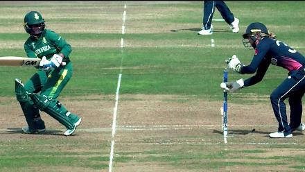 WICKET: Sarah Taylor's brilliant stumping dismisses Trisha Chetty