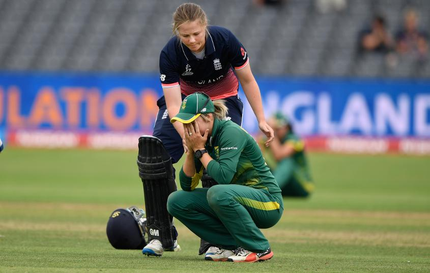 Jenny Gunn comforting Dane van Niekerk after South Africa's loss in the first semi-final