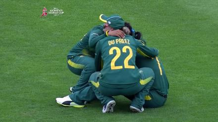 #WWC17 Semi-final 1: ENG v SA: The South African team huddle together after the loss